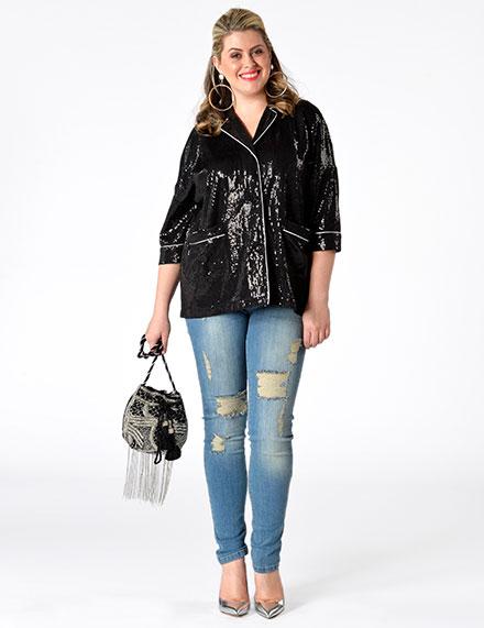 Damenbekleidung für Große Größen mit Pailletten